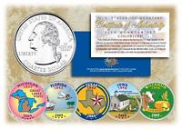 2004 COLORIZED US MINT STATE QUARTERS * Complete Set of 5 Coins * with Capsules