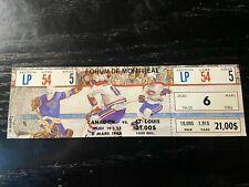 Montreal Canadiens vs St. Louis Blues Full Unused Ticket 3/6/86 vintage NHL