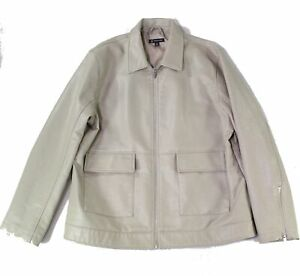 INC Mens Jacket Sand Beige Size 2XL Motorcycle Emboss Faux-Leather $129 065