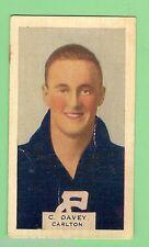 1930 VICTORIAN FOOTBALLERS CARD - HOADLEYS CHOCOLATE #8  C. DAVEY, CARLTON