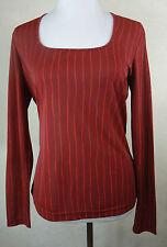Neuwertig ! Tolles ESPRIT Stretch Shirt, Top  bordeaux - rot gestreift Gr. L