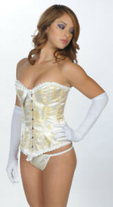 Corset Corsage Burlesque Victorian Golden Beige Style Brocade Sexy Size L Large