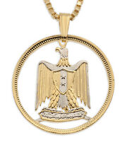 "Egyptian Eagle Pendant, Hand Cut Egyptian Eagle Coin, 1"" in Diameter, ( # 889 )"