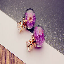 Korean Creative Glass Sphere Flower Crystal Fashion Alloy Piercing Stud Earrings