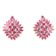 Sterling Silver 925 Genuine Natural Marquise Cut Pink Ruby Cluster Earrings