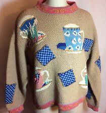 Vintage 80's Handknit Limited Teapot Sweater Fits Size Extra Large Camel EVC