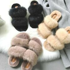 Fur Women Slipper Shoes Rabbit Real Hair Slides Female Indoor Flip Flop Plush