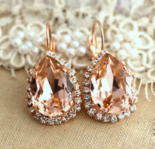5Ct Pear Cut Peach Morganite Halo Huggie Hoop Earrings 14K Rose Gold Finish