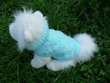 XXS handmade knit Light Blue dog sweater