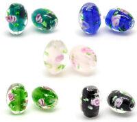 50 Hot Mixed Flower Glass Lampwork Beads 14x10mm