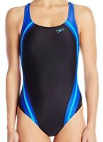 Speedo Womens Swim Black Blue Size 10 Powerflex Quantum Splice Swimsuit $78- 095