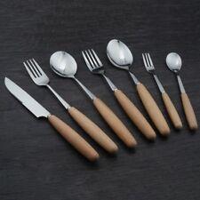 Cutlery Flatware Knife Fork Spoon Stainless Steel Wooden Handle Wood Tableware