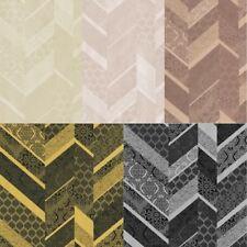 P&S International Stripe Ornament Metallic Textured Geometric Detail Wallpaper