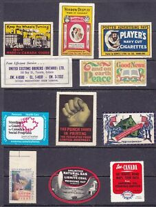 POSTER STAMPS, A COLLECTION OF 12 CANADA  ADVERTISING LABELS