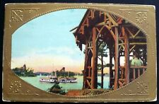 "1900-1910 Gold Embossed ""A Glimpse Along the Hudson River"" Wooden Structure"