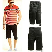 Mens Long 3/4 Chino Twill Cargo Shorts Combat Bottoms 100% Cotton Pants Work
