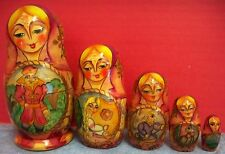 Russian Nesting Dolls Stacking Matryoshka Fairy Tale Rapunzel 1995 Wood Signed