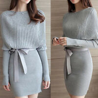 New Fashion Women Hip Knit Dress Casual Long Tight Bodycon Midi Dress Bowknot