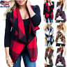Women Ladies Sleeveless Plaid Check Waistcoat Vest Jacket Cardigan Blouse Top US