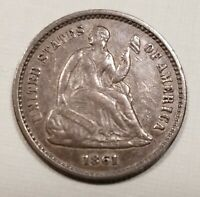 1861 Seated Liberty Half Dime AU Details