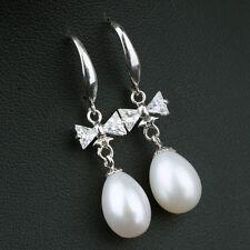 Boucles d`Oreilles Perle de Culture BlancheArgent Massive 925 Papillon 12mm
