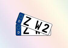 2 Kurze KFZ Kennzeichen 30cm x 11cm Autoschilder 1 Paar Satz Nummernschilder