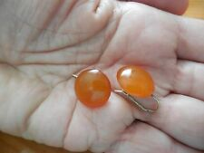 Antique Vintage Natural Baltic Honey Amber 875 Sterling Silver Earrings 2.8gm