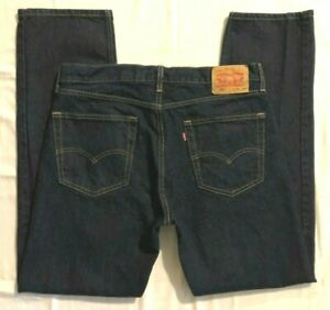 MENS 36 X 33 LEVI'S 505 BLUE JEANS - (505 = REGULAR FIT) - (TAGS STATE 36 X 34)