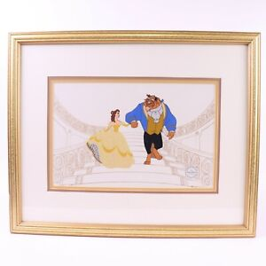 Disney Beauty and the Beast Belle Staircase Sericel Gold Frame