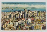 Postcard Linen Oakland Bay Bridge San Francisco City Skyline California