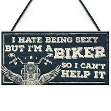 Motorbike Biker Hanging Plaque Man Cave Garage Sign Gift For Men Dad Grandad