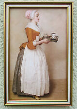 Das Schokoladenmädchen gerahmtes Bild Neuware 18x27 Liotard MoF