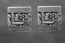 Vintage Guy Gilles Vidal Brutalist Cufflinks in Silver-plated Pewter