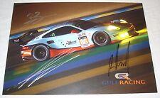Le Mans 2017 - FIA WEC Du Mans GTE AM Gulf Racing Porsche 911 RSR Signed card