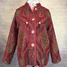 Unbranded Women's Tapestry Jacket Blazer Paisley Red Multi Colors Size M