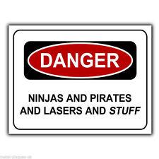 Pericolo Ninja e Pirati e Laser e ROBA a3 Metallo Muro Firmare La Placca Porta