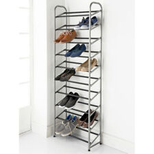 10 Tier Tall Shoe Storage Rack- Stainless Steel Metal Frame - HOLDS 30 PAIRS.