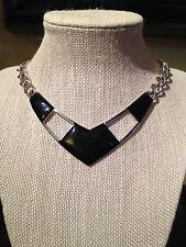 Sleek Vintage Modernist Monet Black Enamel & Silver Tone Metal Choker Necklace