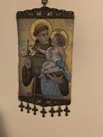 Saint Anthony Padua Religious Icon Banner Pure Cotton with Gold Yarn Italy
