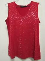 Susan Graver Sleeveless Sparkle V-Neck Tank Top Womens Cranberry Red XS or XL