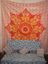 Mandala Throw Floral Wall Hanging Home Decor Queen Tapestry Orange Indian Cotton