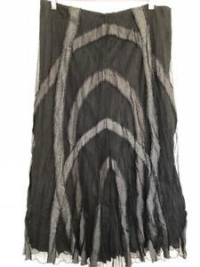 Grace Hill 16 Skirt Midi black tulle deconstructed contrast grey stripe artsy