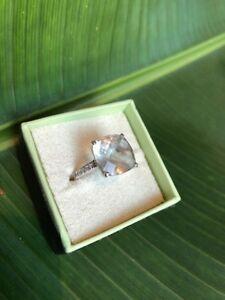 Ross Simons Diamond Amethyst 14K White Gold Cushion Cut Ring