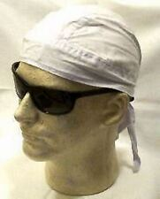 Solid White Durag Doo Rag Skull Cap ATV Headwrap Bikers Bandanna Sports Chemo