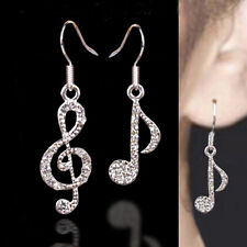 Personality Trendy Music Notes Clear Crystals Lady Dangles Party Earring GD