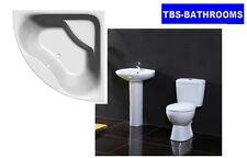Complete Modern Bathroom Suite, Corner Bath, Basin, Pedestal, Toilet & Seat