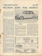 Hillman Minx 1956 Models Motor Trader Service Data No. 267 1957