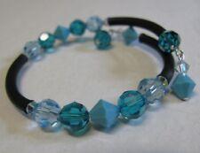 Bracelet Spiral Wrap Cuff made with  Swarovski Elements Aqua Teal Colour's