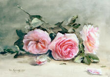 Pink Roses Painting Flowers Shabby Chic Bouquet French Provincial Canvas Print