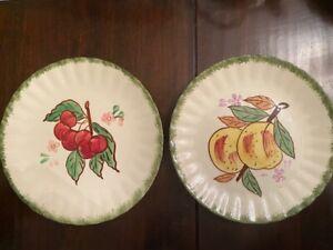 2 Vintage Blue Ridge Southern Potteries Country Fair Plates Cherry & Peach